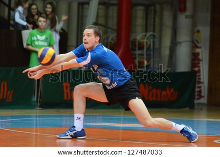 KAPOSVAR, HUNGARY - FEBRUARY 1: Lajos Domotor in action at a Middle European League volleyball game Kaposvar HUN (w) vs Innsbruck AUT (b), February 1, 2013 in Kaposvar, Hungary - stock photo