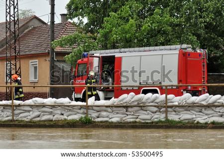KAPOSVAR, HUNGARY - MAY 17: Flood defense at the Kapos river , May 17, 2010 in Kaposvar, Hungary. - stock photo