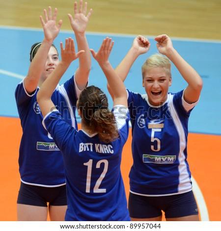 KAPOSVAR, HUNGARY - OCTOBER 23: Kaposvar players before a Hungarian NB I. League woman volleyball game Kaposvar vs Bekescsaba, October 23, 2011 in Kaposvar, Hungary. - stock photo