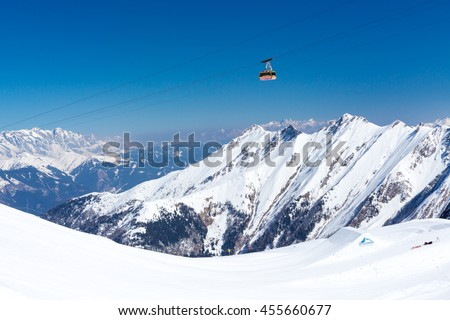 KAPRUN, AUSTRIA - MARCH 20, 2016: Cable car (Gipfelbahn) to Kitzsteinhorn peak during sunny wather in spring season 2016 - stock photo