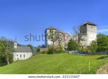 Kaprun Burg Castle in Austrian Alps near the town of Zell am See, Austria - stock photo