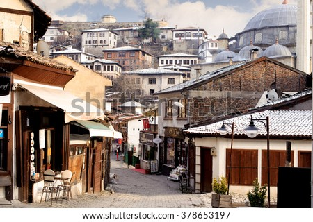 KARABUK, TURKEY - JAN 21, 2016: Market section of Safranbolu. The old town preserves many old buildings, with 1008 registered historical artifacts.Safranbolu was added to the list of UNESCO. - stock photo