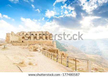 Karak Castle in Al Karak, Jordan. It is one of the largest crusader castles in the Levant.  - stock photo