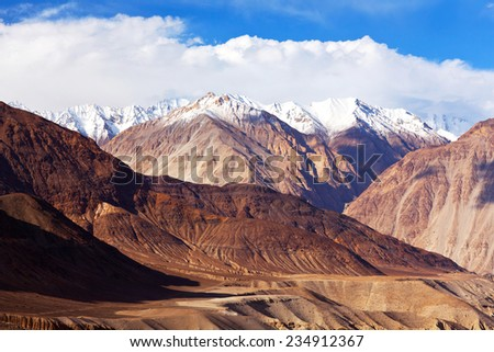 Karakoram mountain landscape in Ladakh, Jammu and Kashmir, India. View from Nubra valley. - stock photo