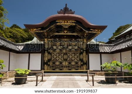 Karamon Chinese Gate at Zenchoji temple in Kamakura, Japan - stock photo