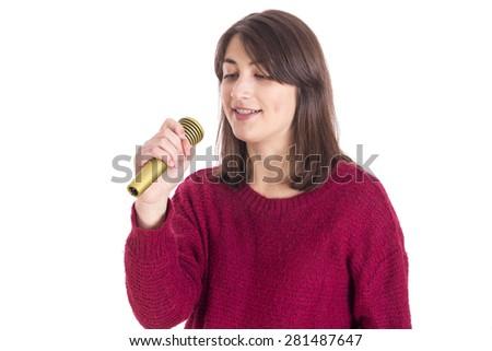 Karaoke party girl singing - stock photo