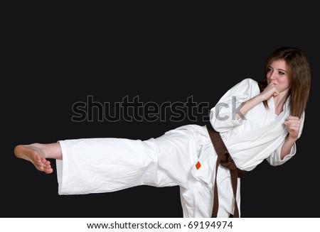 karate girl - stock photo