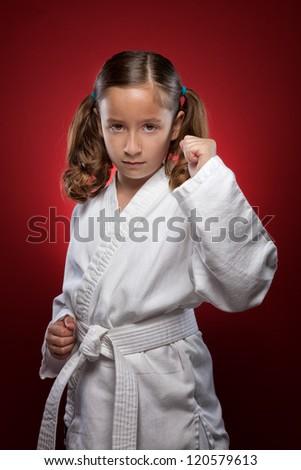 Karate girl in stance - stock photo