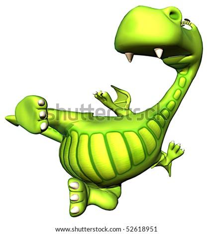 karate green baby dragon - stock photo