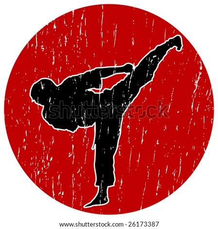 Karate Illustration - Perfect Kick - stock photo