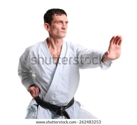 Karate. Man in a kimono with a white background  - stock photo
