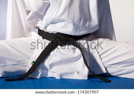 Karate with black belt - stock photo