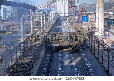 KARDEMIR, TURKEY - NOVEMBER 12, 2013: Filling machine on the ceiling of the coke battery, Turkey on November 2013. Coke battery in Kardemir Karabuk Iron and Steel Industry and Trade  - stock photo