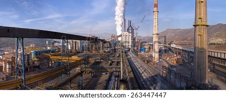 KARDEMIR, TURKEY - NOVEMBER 12, 2013: Panoramic view from the coal tower on coke and metallurgical plant, Turkey on November 2013. Coke battery in Kardemir Karabuk Iron and Steel Industry and Trade - stock photo