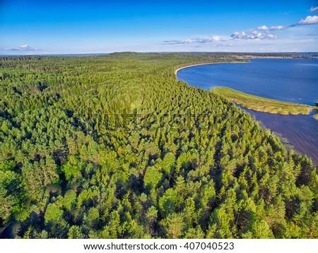 Karelia Landscape Aerial - stock photo