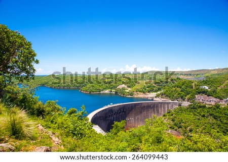 Kariba dam wall higher view.  Zambezi river.  Zimbabwe Africa. - stock photo