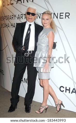 Karl Lagerfeld, Kate Bosworth, in Chanel couture, at Mobile Art CHANEL Contemporary Art Container by Zaha Hadid Opening Night Party, Rumsey Playfield in Central Park, New York, October 21, 2008 - stock photo
