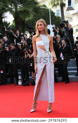 Karlie Kloss attends the opening ceremony and 'La Tete Haute' premiere during the 68th annual Cannes Film Festival on May 13, 2015 in Cannes, France. - stock photo