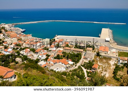 Karlovasi ferry port - view from Paleo Karlovasi hill, Samos, Greece - stock photo