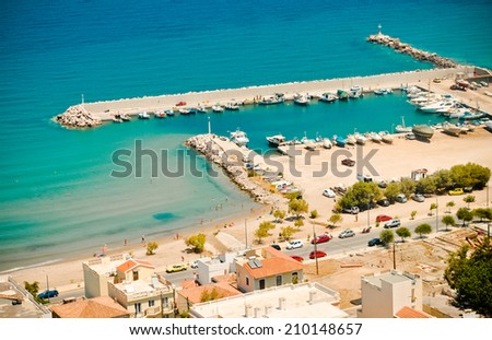 Karlovasi port and beach, Samos, Greece - stock photo