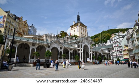 KARLOVY VARY, CZECH REPUBLIC - AUGUST 22, 2014: Hot springs colonnade on September 20, 2012 in Karlovy Vary. Karlovy Vary historically famous for its hot springs (13 main springs, about 300 smaller ) - stock photo