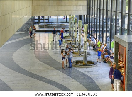 KARLOVY VARY, CZECH REPUBLIC - AUGUST 26, 2015: The Hot Spring Colonnade in Carlsbad. Karlovy Vary (Carlsbad) is world famous for its healing hot springs - stock photo
