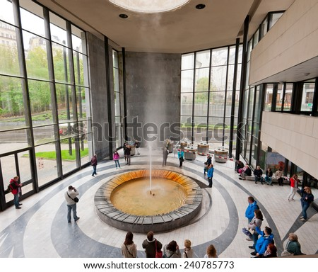 KARLOVY VARY, CZECH REPUBLIC - MAY 18, 2014: Hot Spring Colonnade and Hot Spring  - stock photo