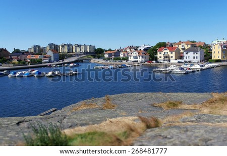 Karlskrona landscape: sea, boats and the town - stock photo