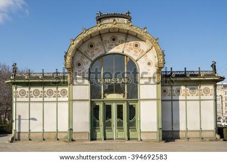 Karlsplatz Subway Station (Otto Wagner Pavilion), Vienna, Austria - stock photo