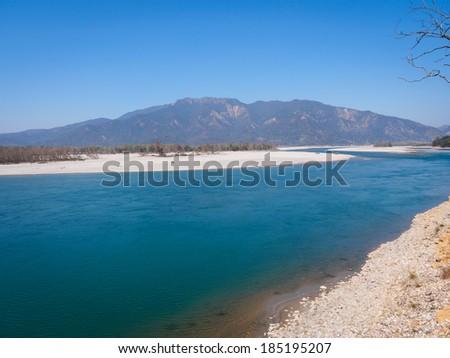 Karnali River, Bardia National Park, Nepal - stock photo