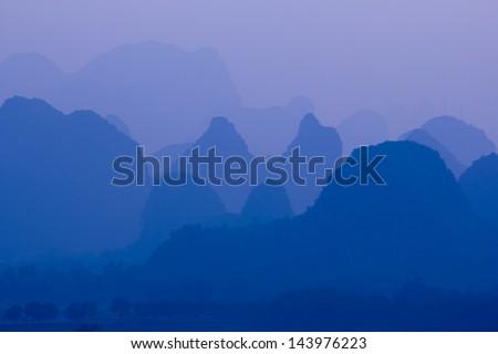Karst mountain landscape near Yangshuo, China - stock photo