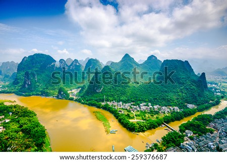 Karst Mountain landscape on the Li River in rural Guilin, Guangxi, China. - stock photo
