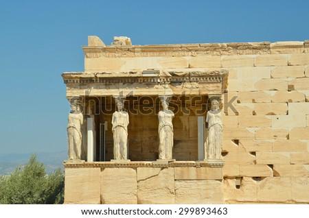 Karyatides Athens Greece - stock photo