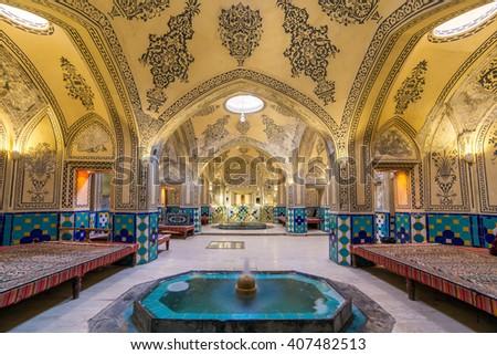 Kashan, Iran - December 9, 2015: Sultan Amir Ahmad historic bath, Kashan, Iran - stock photo
