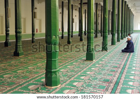 KASHGAR, CHINA - OCTOBER 01: Outdoor area of the mosque on October 01, 2011 in Kashgar. - stock photo