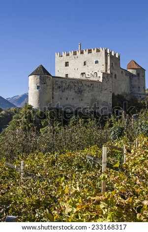Kastel Bell is a medieval castle in the municipality Tschars in Venosta in South Tyrol - stock photo