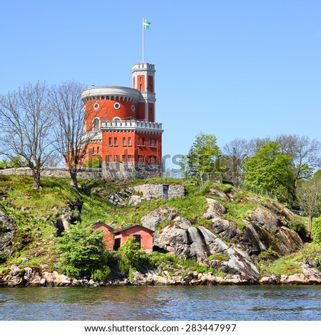 Kastellet fortress on a small island in Stockholm, Sweden - stock photo