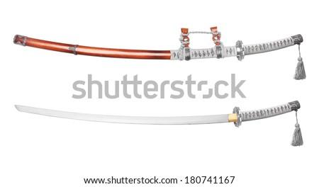 Katana, japanese sword, isolated on white background - stock photo