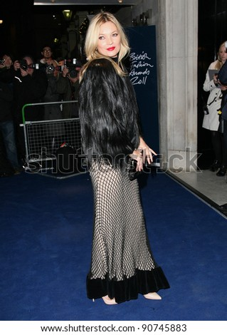 Kate Moss arriving for the 2011 British Fashion Awards, at The Savoy, London. 28/11/2011 Picture by: Alexandra Glen / Featureflash - stock photo