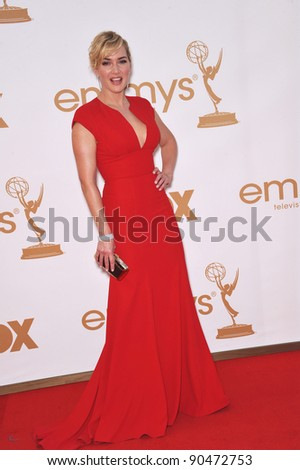 Kate Winslet arriving at the 2011 Primetime Emmy Awards at the Nokia Theatre, L.A. Live in downtown Los Angeles. September 18, 2011  Los Angeles, CA Picture: Paul Smith / Featureflash - stock photo