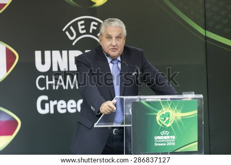 KATERINI, GREECE, JUNE 9,2015: Jim Boyce, chairman of the UEFA Youth and Amateur Football Committee during the Uefa Under19 Championship draw. - stock photo