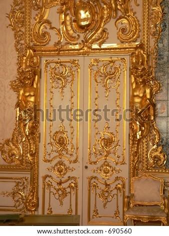 Katherine's Palace dining room door in Tsarskoe Selo (Pushkin), Russia - stock photo