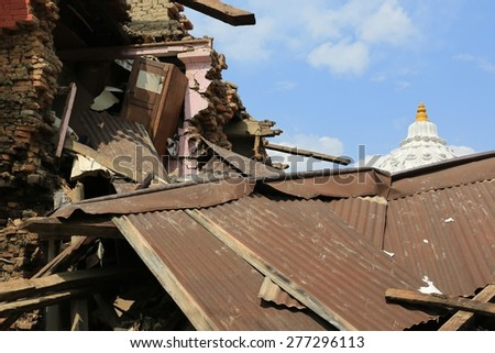 KATHMANDU - APRIL 28: Nepalese house after earthquake, end of April 2015, Lalitpur, Kathmandu, Nepal - stock photo