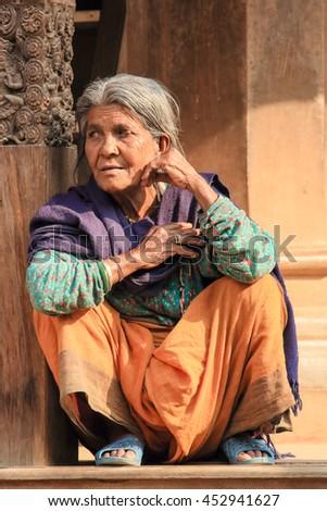 KATHMANDU, NEPAL, APRIL 03: Nepalese woman on the street Kathmandu, Nepal on April 03, 2014 - stock photo
