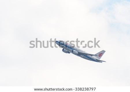 KATHMANDU, NEPAL - MARCH 2, 2014: Air China Airbus A319-115 after taking off from Tribhuvan International Airport. - stock photo