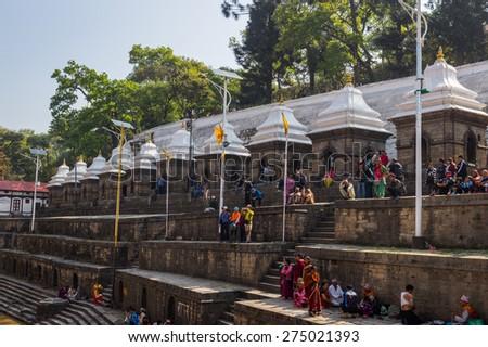 KATHMANDU, NEPAL-MARCH 28: Pashupatinath Temple on March 28, 2015 in Kathmandu, Nepal. a famous, sacred Hindu temple. - stock photo