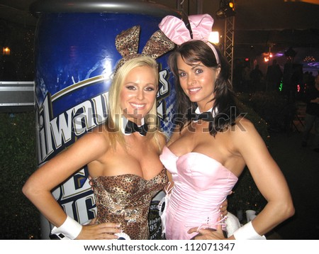 Katie Lohmann and Karen McDougal at the Milwaukee's Best Party, Playboy Mansion, Beverly Hills, CA 03-08-07 - stock photo