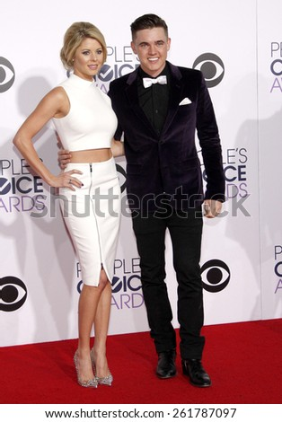 Katie Peterson and Jesse McCartney at the 41st Annual People's Choice Awards held at the Nokia L.A. Live Theatre in Los Angeles on Tuesday January 7, 2015. - stock photo