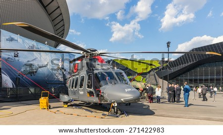KATOWICE, POLAND - APRIL 21, 2015: Presentation of the AW149 multi-purpose helicopter during European Economic Congress, the largest event of this kind in Central Europe, held on 20-22 April, 2015. - stock photo