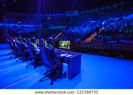 KATOWICE, POLAND - JANUARY 19: Azubu Frost (clan) at Intel Extreme Masters 2013 - Electronic Sports World Cup on January 19, 2013 in Katowice, Silesia, Poland. - stock photo